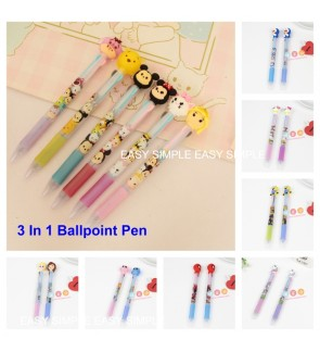 [Ready Stock] Cartoon 3 In 1 Ballpoint Pen Drawing Pen Office Student Stationery